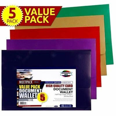Premier A4 Document Wallet Half Flap Coloured Card Folder Office Files x 20