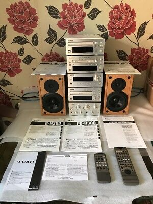 TEAC H-300 Stereo System: Amplifier/CD/Tuner/Cassette/Mini Disc/Speakers/Remotes