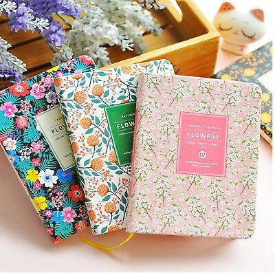 Cute PU Leather Floral Flower Schedule Book Diary Weekly Planner Notebook 2018
