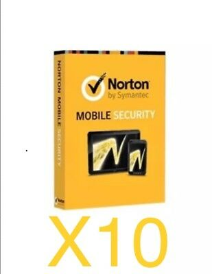 10X Symantec NORTON MOBILE SECURITY 3.0 IN 1 USER 1 Year Subscription Bundle