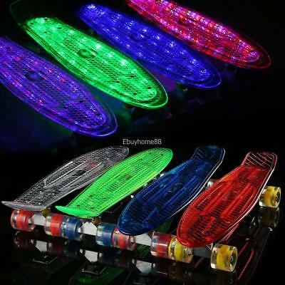 "22"" Kinder Skateboard Rollboard Mini Cruiser Board w/ LED LongBoard Pennyboard"