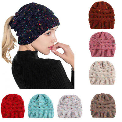 Colorful Lines Women Knitting Bun Ponytail Holder Hat Warm Beanie Cap Deluxe