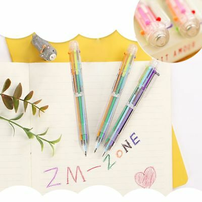 2 PCs Cartoon Plastic Writing Tool Kids Stationery 6 Colors Ink Ballpoint Pen
