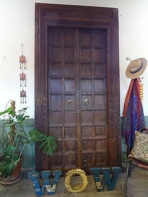 Large Antique Wooden Carved Door & Frame 9' Tall, 4.5' Wide 2 Opening Doors