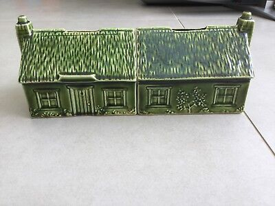 Vintage Green Holkham Pottery Cottage Moneybox's (2)