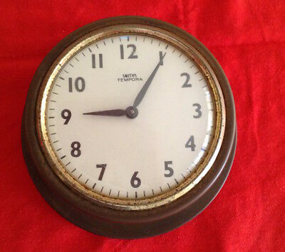 Smiths brass maritime wind up clock for yacht, or ship's bulkhead, with alarm
