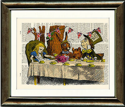 Antique Book page Art Print - Alice in Wonderland Mad Hatters Tea Party