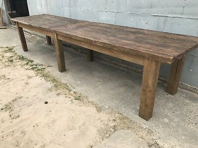 HUGE 4m Long, Oak Table, Kitchen Island, Vintage, Rustic, Farmhouse