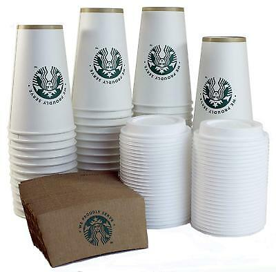 Starbucks White Disposable Hot Paper Cup, 16 Ounce, Sleeves and Lids Pack of 50