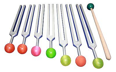 Chakra Tuning Forks w Rubber Balls for Security Sexual Ego Love Trust Emotions
