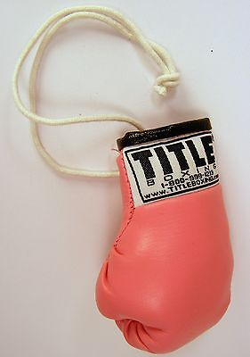 Title Rear View Mirror Hanging Pink Boxing Glove
