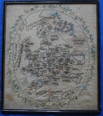 Charming Naive Antique 18th Century Sampler Map Of English Counties For Some TLC