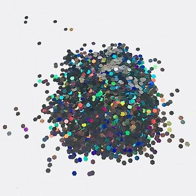 HOLOGRAPHIC BLACK 2mm HEXAGON CHUNKY GLITTER FESTIVAL FACE BODY 10g 50g 100g