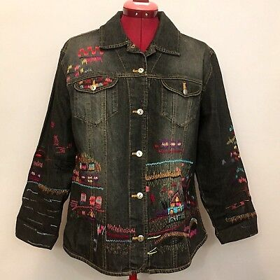 Chicos Womens Jean Jacket Sz 2 Black All Over Detailed Embroidering Village