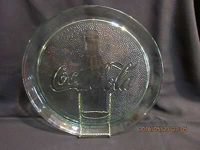 "Coca Cola Memorabilia Green Glass Embossed 13"" round Serving Tray"