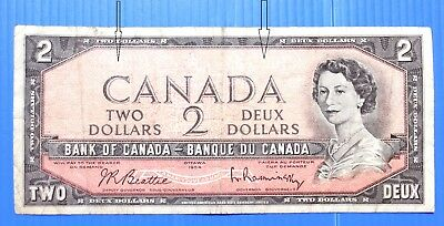 1954 Canada  error Devil Face Two 2 Dollars Banknote