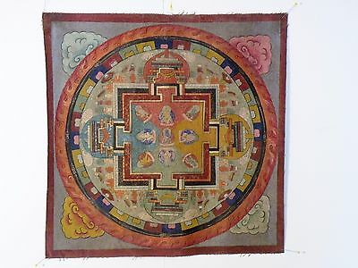 thk3 old HAND PAINTED TIBETAN BUDDHIST THANGKA - MANDALA