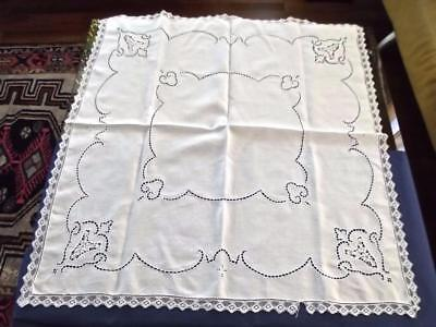"Vintage Italian White Linen 35""Sq Tea Tablecloth Point Venise Lace Centerpiece"