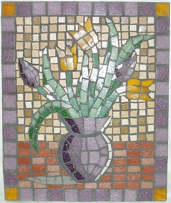 Unique handmade mosaic of vase of tulips. 25 x 30 cms Ready to hang. Free UK P&P