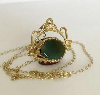 Vintage 9ct Gold Pocket Watch Spinning Fob - Scottish Agate & Necklace Chain