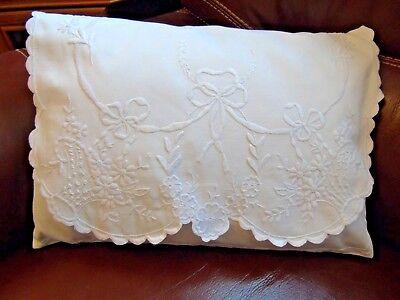 Beautiful Antique CUSHION COVER/LINGERIE BAG..Gorgeous Hand Embroidered Baskets