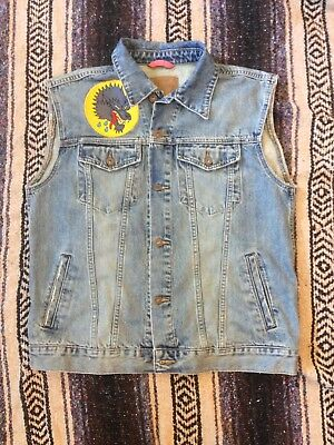 Vintage Denim Biker Vest - Wolf Head -Men's Size L
