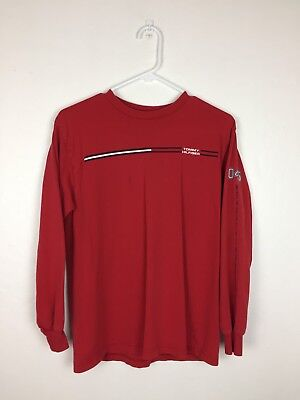 Youth Large Tommy Hilfiger VINTAGE VTG Long Sleeve Red Spellout Logo Tee Shirt