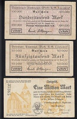 3 x Geldschein: 100.000 Mark bis 1 Million Mark 1923 Lautawerk - Landsberg