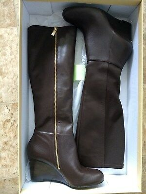 MICHAEL KORS BROMLEY COFFEE LEATHER WEDGE BOOTS Size 8 1/2