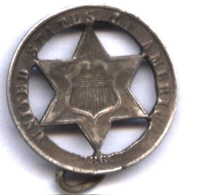 1860 Three Cent Silver * Vintage Cut Out Pin * Civil War Usage ?? * Reduced $$