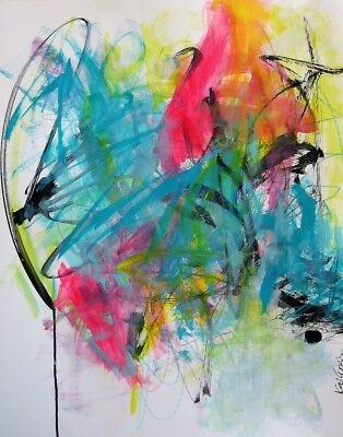 Very Colorful Bright Original abstract expressionism acrylic on paper 18x24