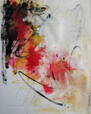 Bold and Bright Red Original abstract expressionism acrylic on paper 18x24
