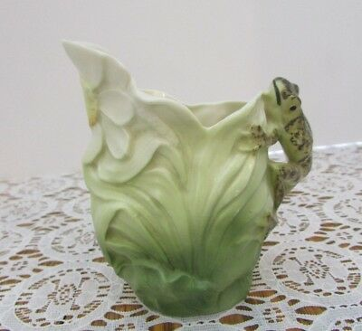 ROYAL BAYREUTH Pitcher W Frog Handle Leaf Shaped Flower Under Spout Unsigned
