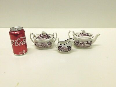 ANTIQUE 1820s 30s Childs Purple Staffordshire Transferware 3 Piece Tea Set