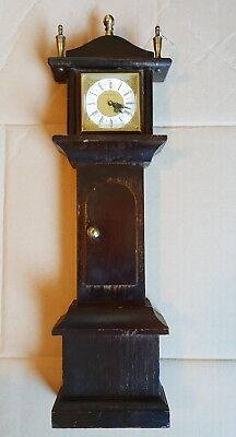 Vintage Miniature Wooden Grandfather Clock, Made in Germany