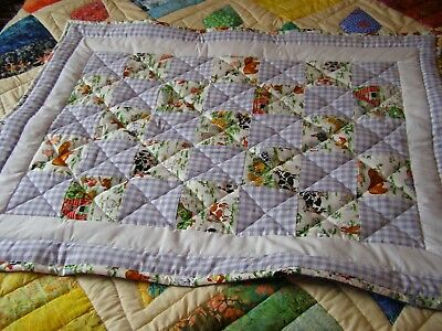 Handmade Quilted Baby Quilt Cot / Pram Baby Maggie's Farm & Blue Gingham Fabric