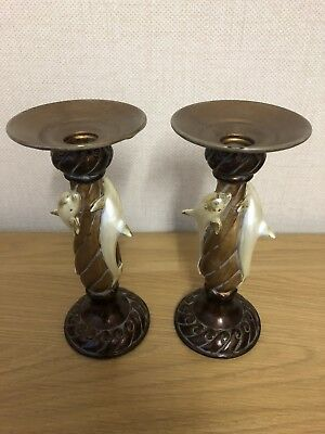 """Lovely Collectible And Decorative 8"""" Pair Of Metal And Composite Candle Sticks"""