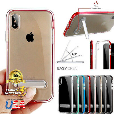 Fits Apple iPhone Clear Bumper Silicone Case With Kick Stand Holder Cover