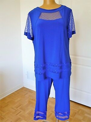 NWT, Artex Fashions 2 pcs set: tunic and cropped pant in royal blue size 2X/ 22W