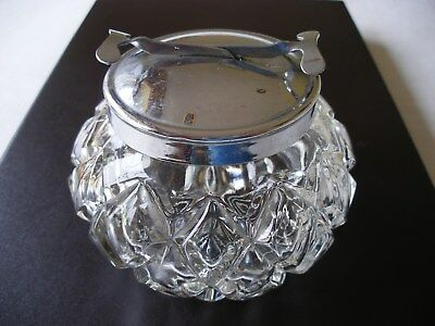 Integral Tongs ( Like A Pascal Patent ) Antique Pressed Glass Large Sugar Bowl