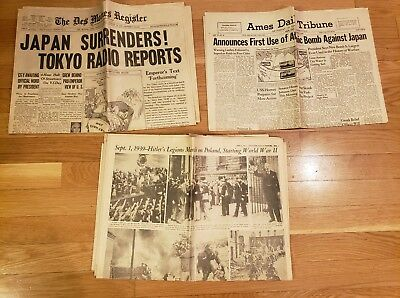 WW2 Vintage Newspapers - Lot of 3 - Atomic bomb, Japan surrender - Originals