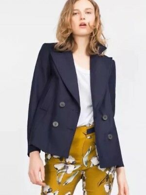 Zara Navy Smart Blazer Jacket Size L UK 14 BNWT