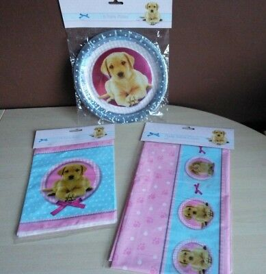 Dog Puppy Pup Pet Birthday Party Paper Plates Treat Bags Tablecloth Table Cover