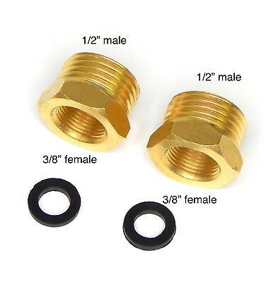 "Shampoo Bowl Faucet Brass Water Line Reducers Plumbing Parts 1/2"" to 3/8"" Inches"