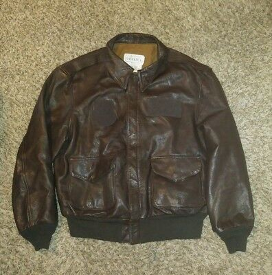 Rare Vintage USAF Saddlery A-2 Leather Flight Pilot Bomber Air Force Jacket 44R