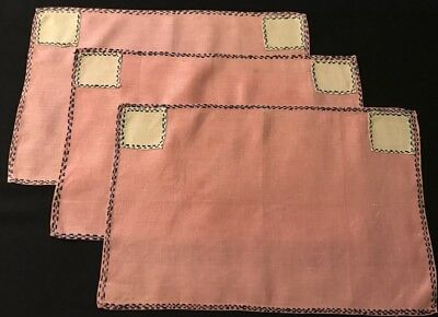 "Three Primitive Pink Linen Placemats Hand Embroidery, Applique Work, 17"" x 11"""