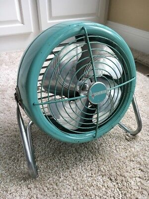 "1950s Vintage 10"" Dominion Turqouise Floor Fan MCM Industrial Works! Good Shape!"