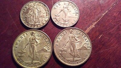 Lot of 4 PHILIPPINES 1944 COINS .75% Silver Minted by the USA
