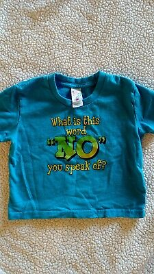 """Funny kids t-shirt, """"What is this word 'NO',"""" 4T"""