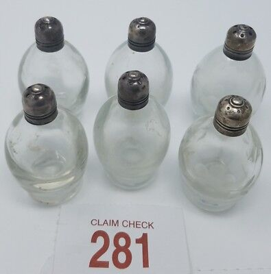 Antique Small Round Salt and Pepper Shakers with Sterling Caps (Set of 6)